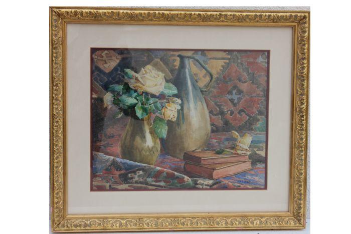 J Lépée  Stilleben mit Rosen Teppich und Büchern