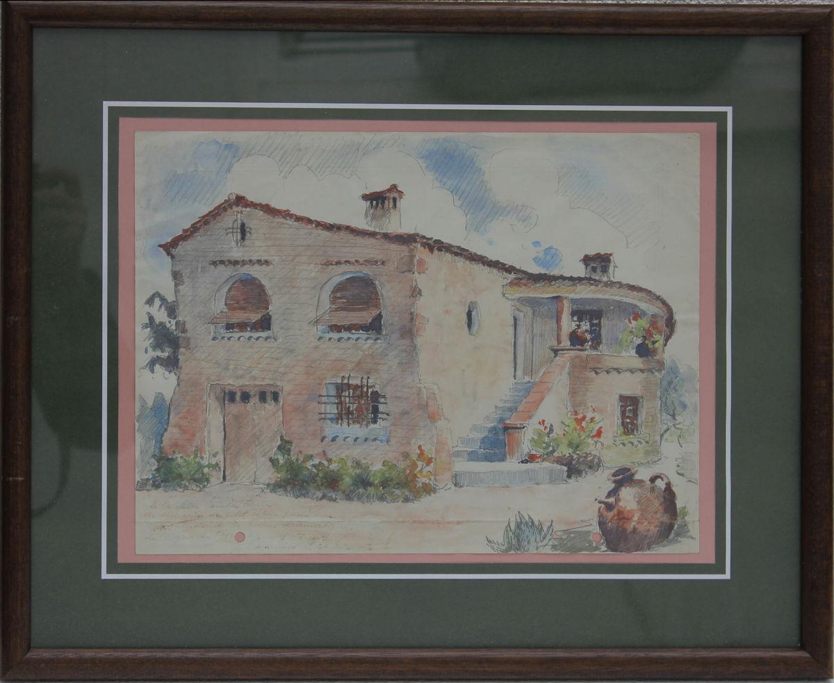 franz sisches landhaus s dfrankreich aquarell mit widmung datiert 1940 ebay. Black Bedroom Furniture Sets. Home Design Ideas
