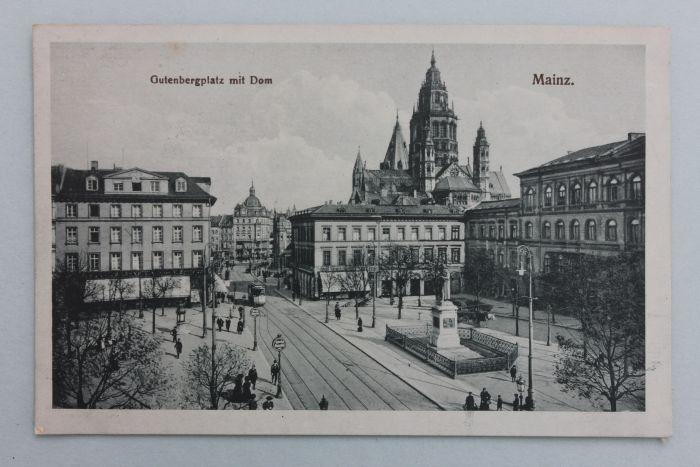 mainz markt gutenbergplatz mit dom ansichtkarte um 1900 ebay. Black Bedroom Furniture Sets. Home Design Ideas