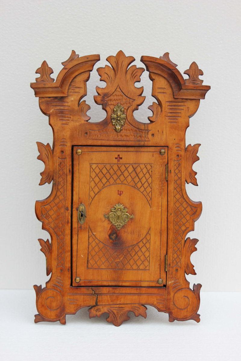 Alter verschnitzter Holz Arzneischrank Apothekerschrank | eBay
